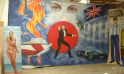 James bond backdrop and cutouts