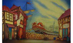 London  theatrical backdrop Dick Whittington
